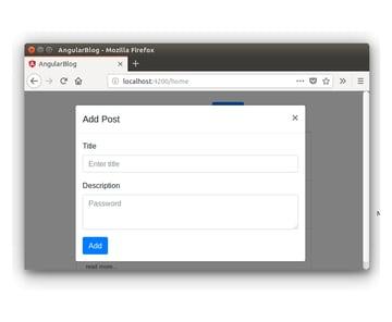 Angular Blog Application - Add Post Popup