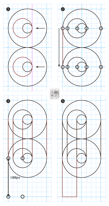 Drawing straight lines between the logo structure