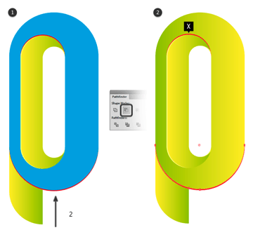 Drawing a bezel in the lower of the outer ring letter P
