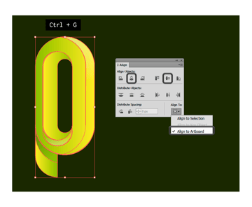 Focusing the logo on the canvas with Align panel