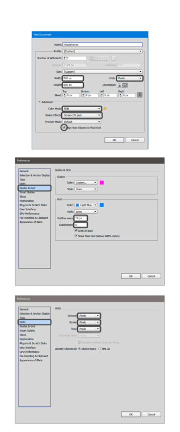 Set Up a new document of 800 x 600 px set the Grid and Units to Pixels