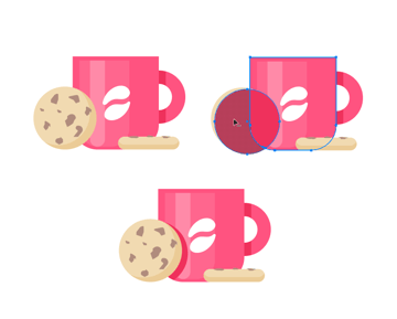 Placing the cookies with the cup and add shadows