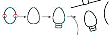 create a Christmas light using the ellipse and rounded rectangle tool