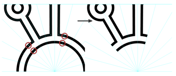 use the scissors tool to delete the part of the center piece that goes beyond the symbol boundary