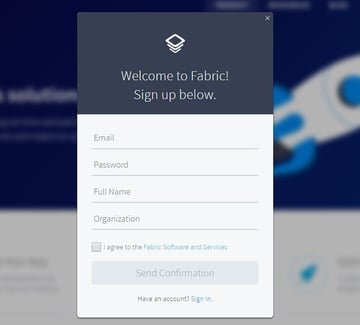 Sign up for Fabric