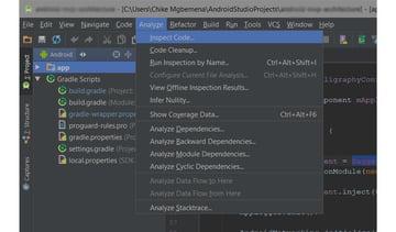 Android studio inspect code menu
