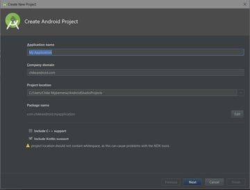 Android Studio new project screen