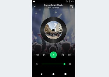 Music app showing detail of the current song playing