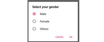 Single choice dialog