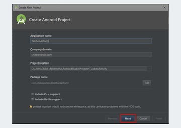 Android Studio create project dialog