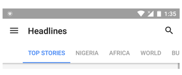 Scrollable tab mode in Google News Weather app