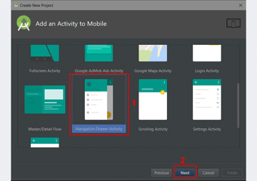 Android Navigation Drawer Design Tutorial Add an Activity to Mobile dialog