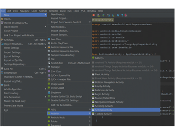 Navigation flow to creating a new settings activity in Android Studio