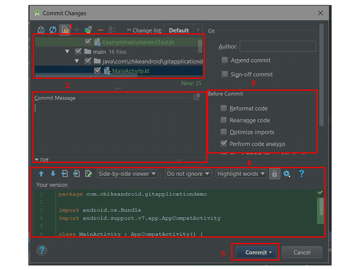 Commit Changes dialog