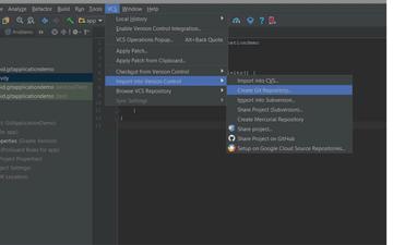 Menu navigation to Create Git Repository