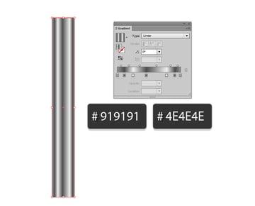 alternate 919191 4E4E4E and white to create a metal effect