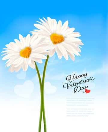 Two Daisies with Heart Shaped Middles