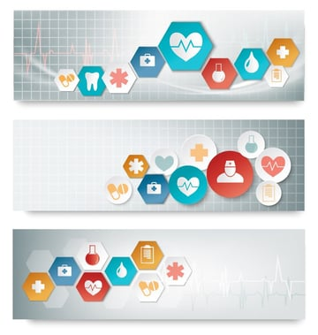 set of three medical banners vector