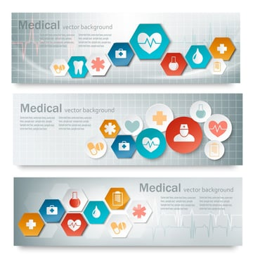 Three Medical Banners with Icons