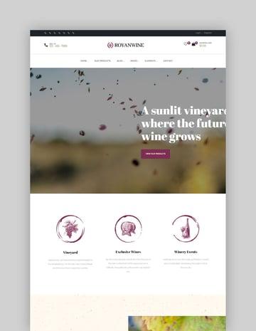 Royanwine - Wine store  Dairy Farm WordPress Theme
