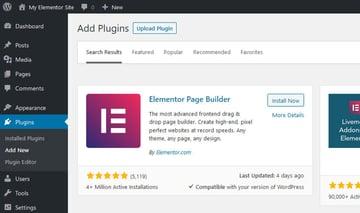 WordPress Add Plugins Screen - Elementor Page Builder