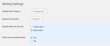 WordPress Writing Settings