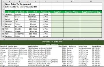 Excel VLOOKUP list ingredient order and supplier list example