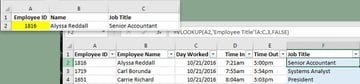 Example VLOOKUP formula used to look up employee data