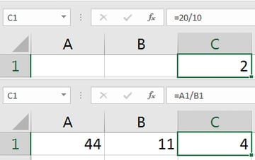 Excel Division Formula