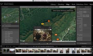 Screenshot of Lightroom Maps selection