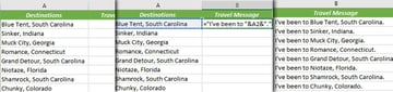 Example Excel formula adding the text Ive been to