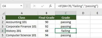 Excel IF statement example