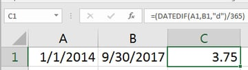 Better Excel formula for calculating years between dates