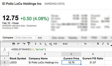 Google Finance to Sheets