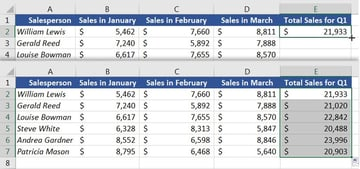 Excel Autofill formula example