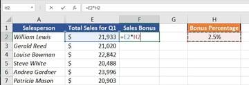 Bonus Calculation in Excel Spreadsheet