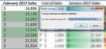 Above Average highlight in Excel
