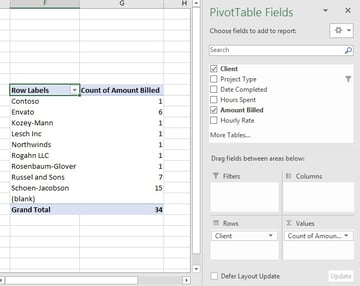 Client Count in Excel