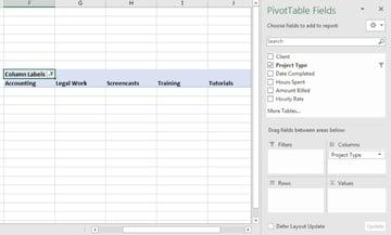 Columns PivotTable in Excel