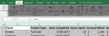 Insert PivotTable into Excel