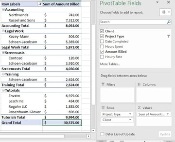 Project Type added in Excel PivotTable
