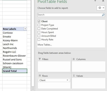 PIvotTable Rows in Excel