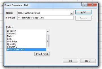 Calculated Field with Numeric value in Excel