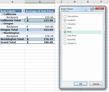 Insert Slicers in an advanced Excel PivotTable