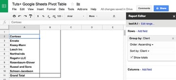 Add as field in Google Sheets Pivot Table