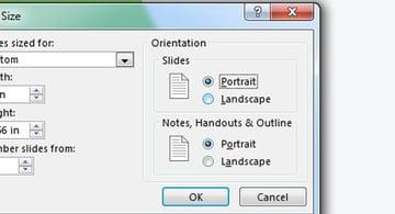 Orientation options - portrait