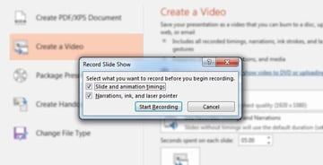 Boxes to check in PowerPoint video recording