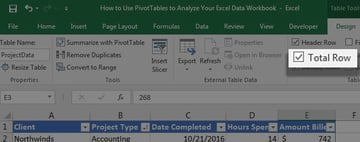 Total row on in Excel table