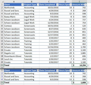 Total dropdown in Excel table