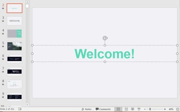 Welcome PowerPoint Text box